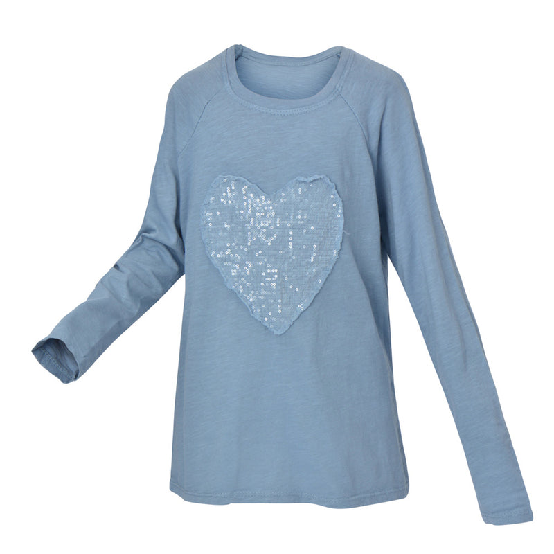 EVA LONG SLEEVE HEART T-SHIRT | LIGHT BLUE