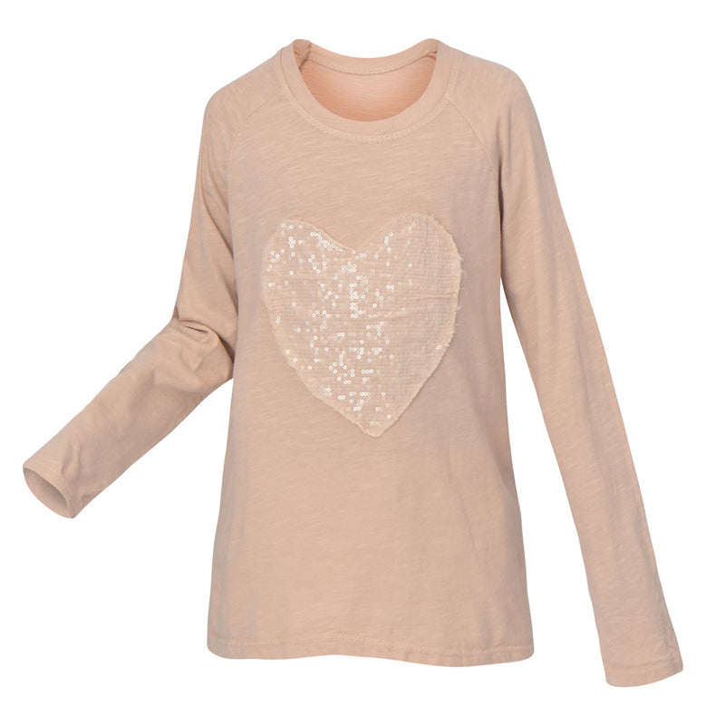 EVA LONG SLEEVE HEART T-SHIRT | LIGHT PINK