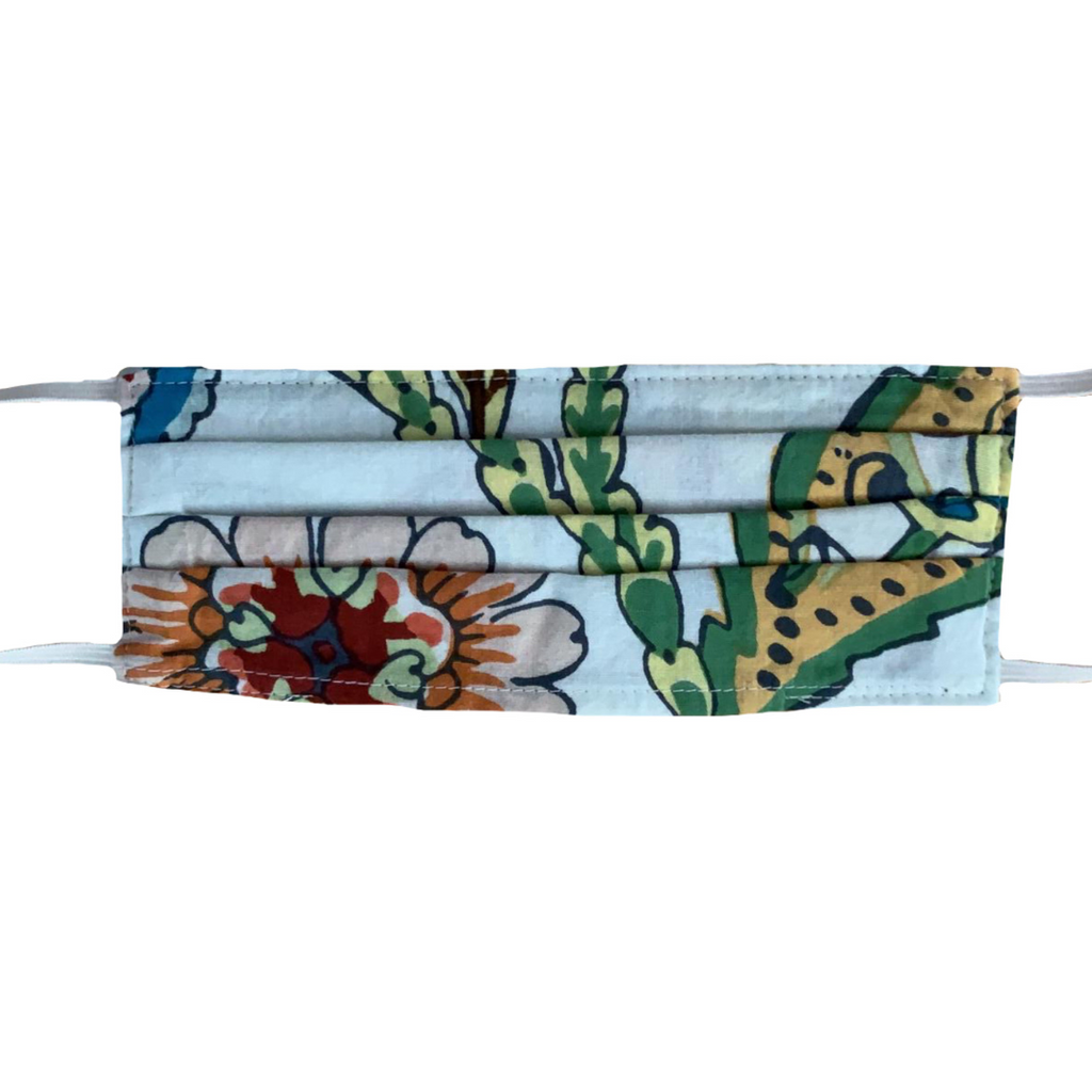 MASK ORGANIC COTTON - TIBET TROPICAL WHITE (PLEATED)