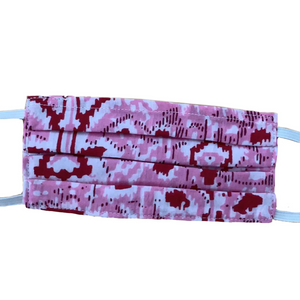 MASK ORGANIC COTTON - PINK & RED IKAT  (PLEATED)