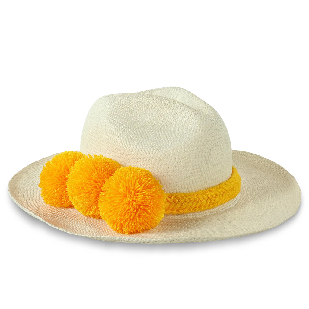 GUADALUPE HAT + WHITE YELLOW POM POM