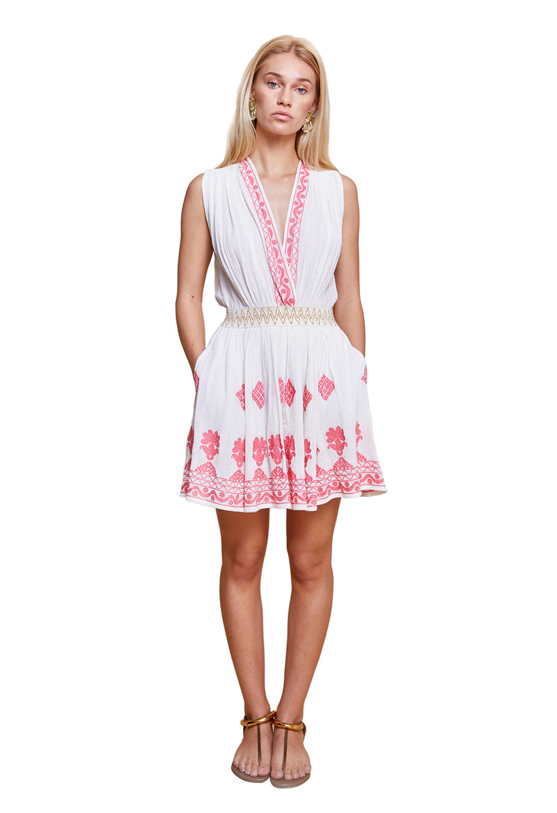 INGE DRESS WHITE & CORAL