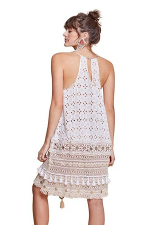 SAVANNAH EYELET DRESS OFF WHITE