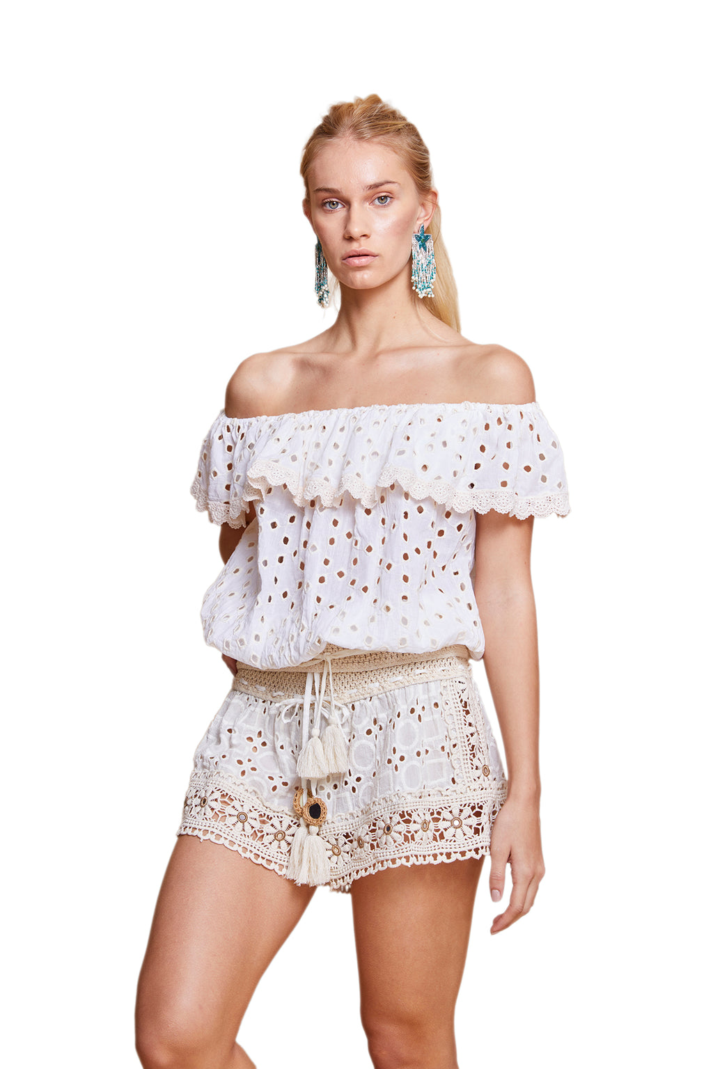 SURI EYELET OFF THE SHOULDER TOP