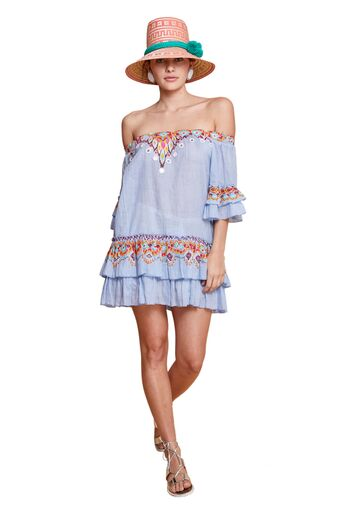 SABINA OFF THE SHOULDER DRESS MULTI & BLUE