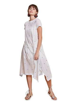 INDIA JAMDANI LONG DRESS WHITE
