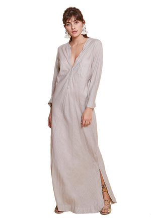 FLAVIA LONG SHIRT DRESS BEIGE