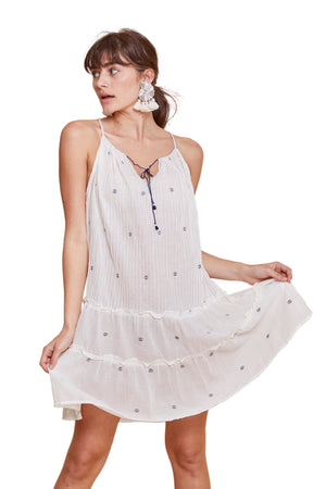 INDIA JAMDANI STRAPS DRESS WHITE