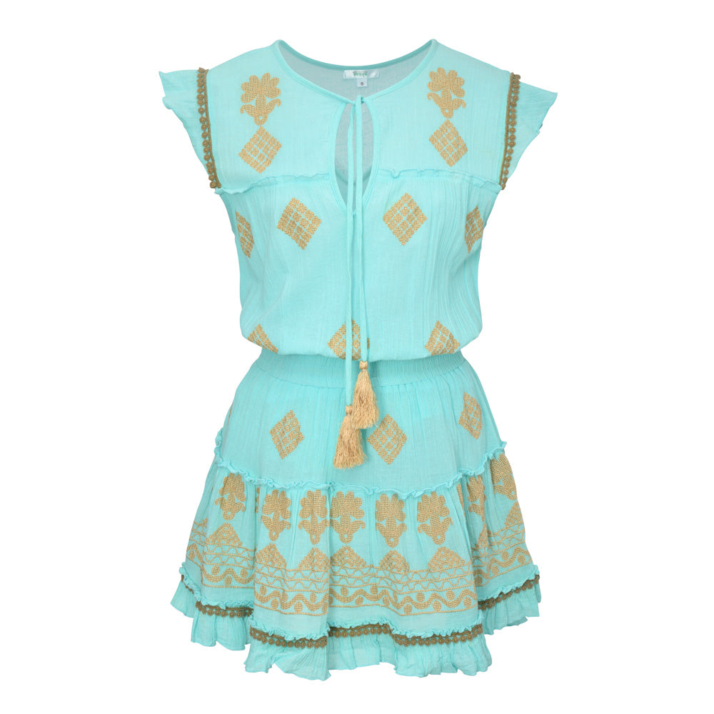 ILEANA DRESS MINT & GOLD