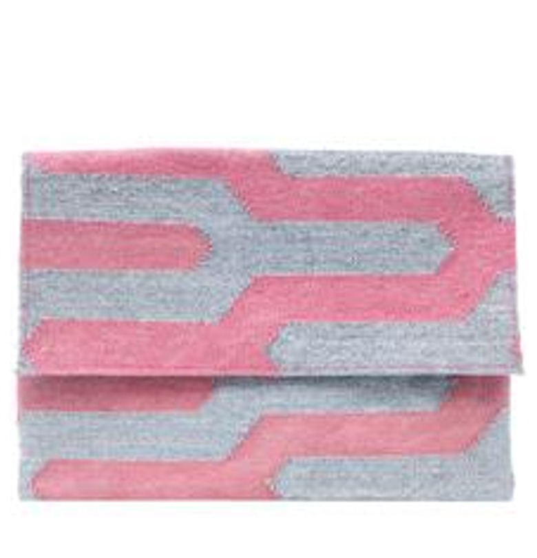 Dhurrie Clutch Pink/Silver