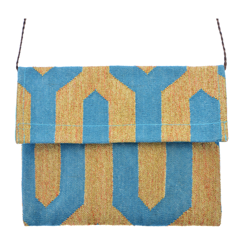 Dhurrie Clutch - Gold / Turquoise