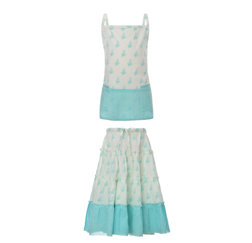 MIA PARROT TOP + AMAZON SKIRT | TURQUOISE