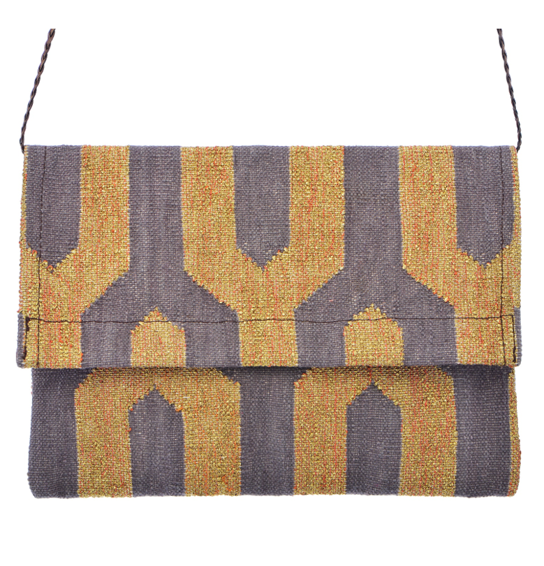 Dhurrie Clutch - Gold / Grey