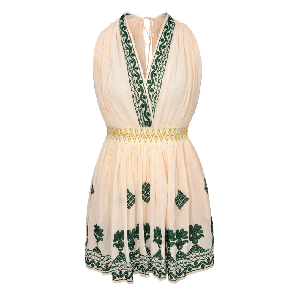INGE DRESS PEACH & GREEN