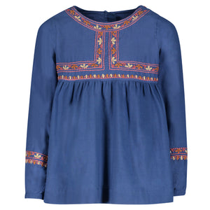 LEONORA EMBROIDERED BLOUSE | BLUE
