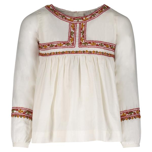 LEONORA EMBROIDERED BLOUSE | BEIGE
