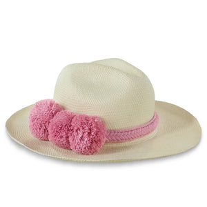 GUADALUPE HAT + WHITE PINK POM POM