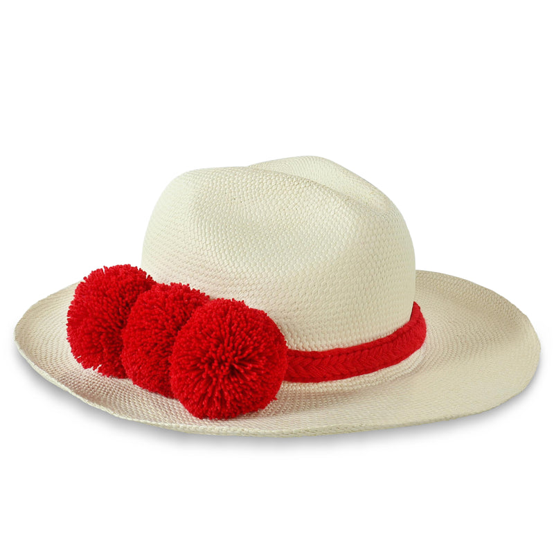 GUADALUPE HAT + WHITE RED POM POM