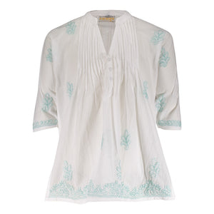 Margarita Pleatted Tunic - Aqua