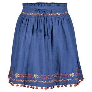 MICAELA EMBROIDERED SKIRT | BLUE