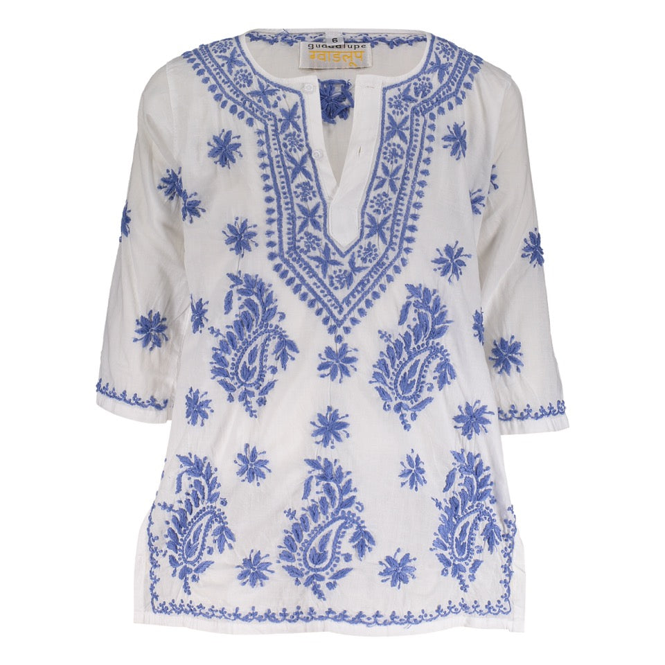 Natassia Embroidered Tunic - Blue