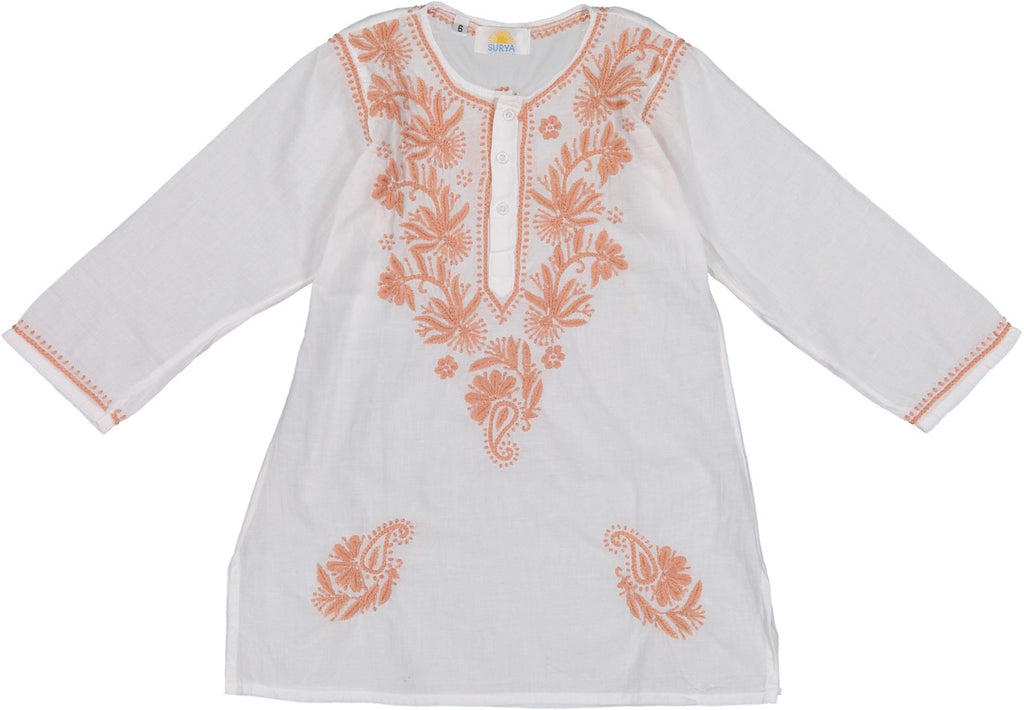 Natassia Embroidered Tunic - Coral