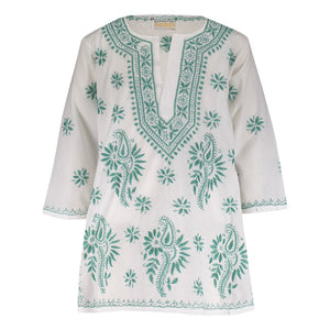 Natassia Embroidered Tunic - Green