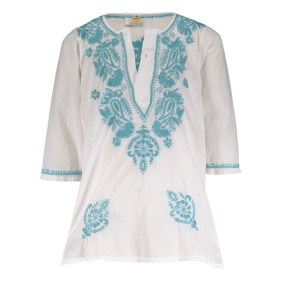 Natassia Embroidered Tunic - Turquoise