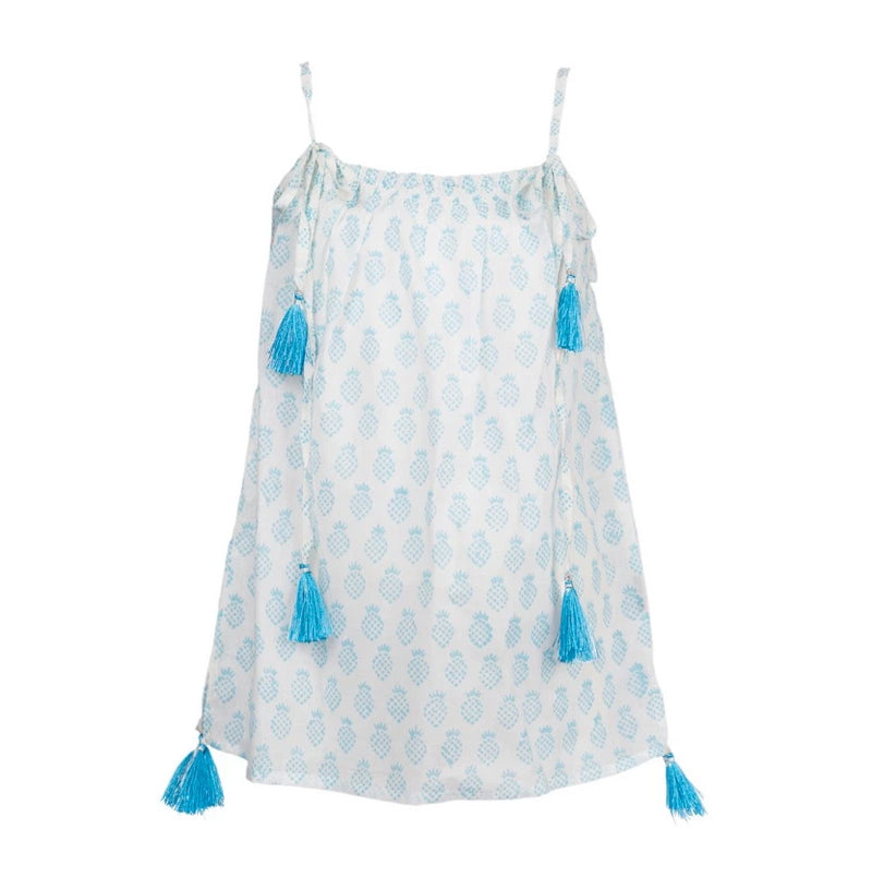 Paula Pineapple Tassel Dress - Turquoise