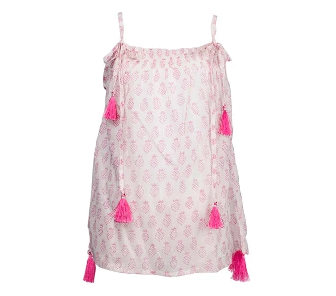 Paula Pineapple Tassel Dress - Pink