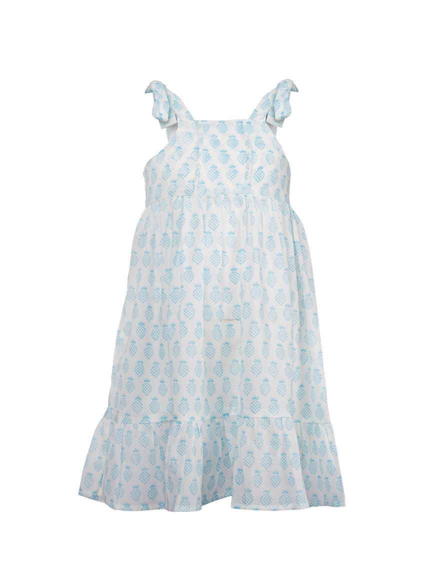 Paula Pineapple Dress - Turquoise