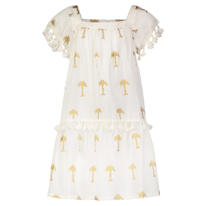 PHOEBE PALM DRESS GOLD