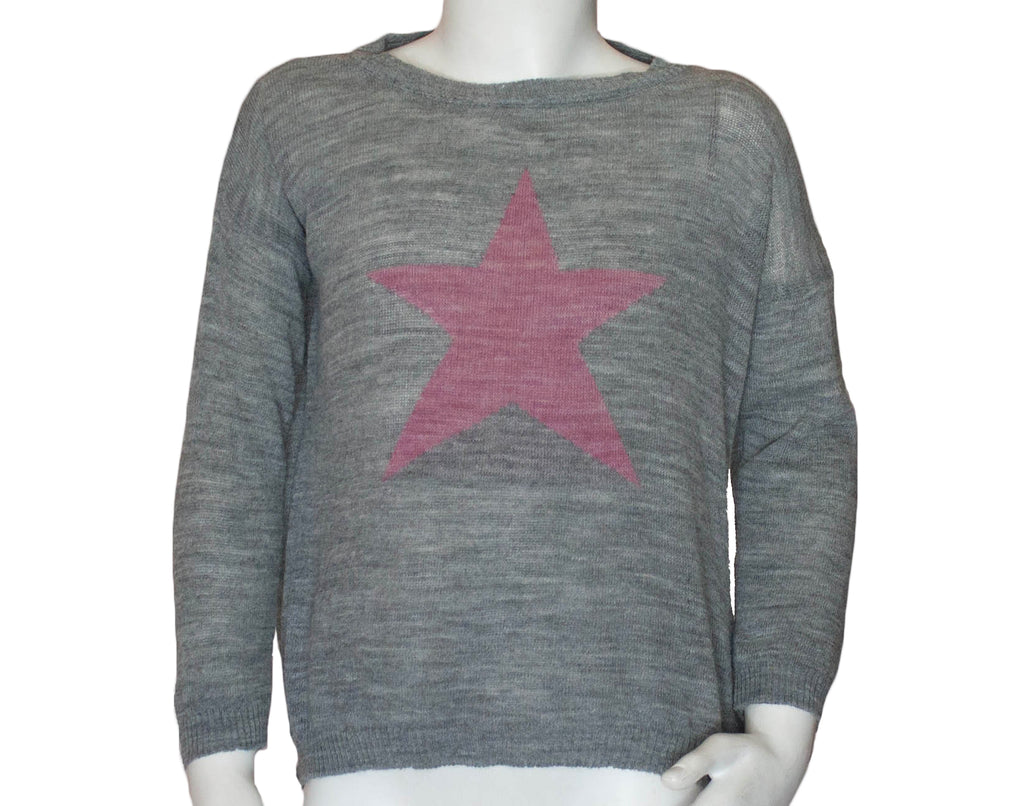PICCOLA STAR SWEATER | LIGHT GREY
