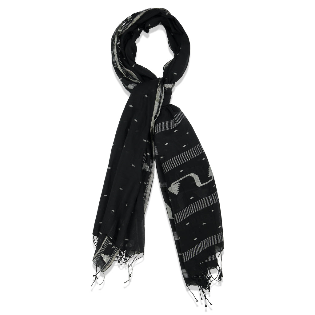 PINE PAREO SHAWL BLACK