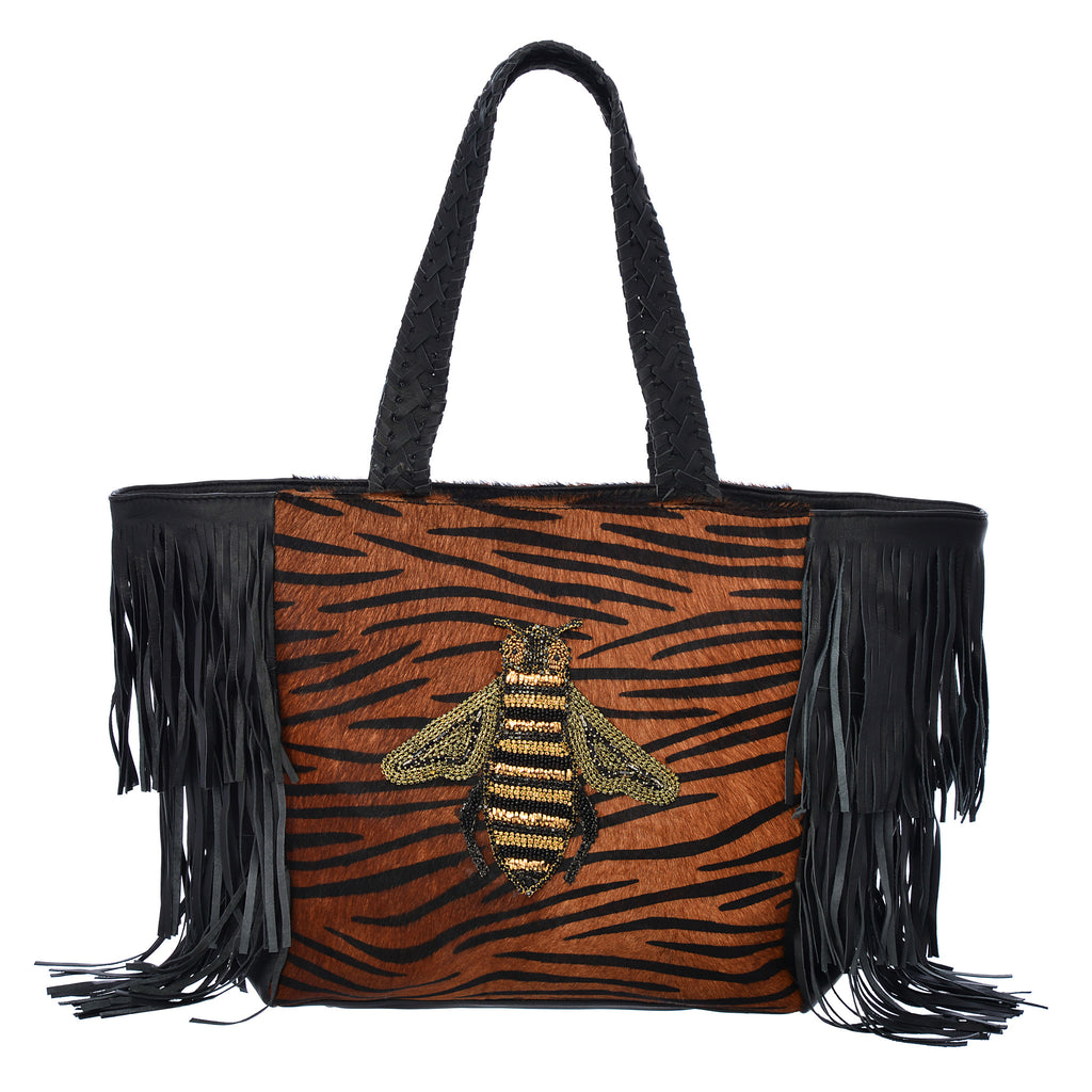 Queen Bee Exotic Tote - Black / Brown