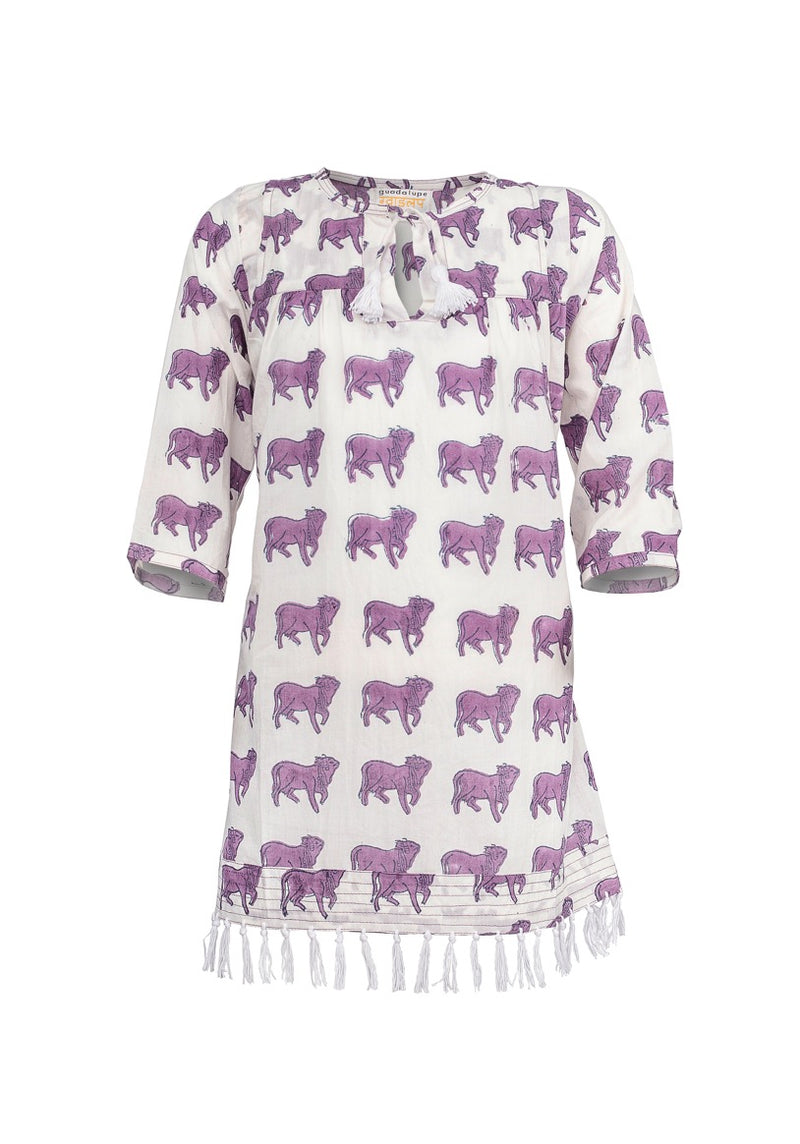 RAQUEL COW PRINT KAFTAN PURPLE