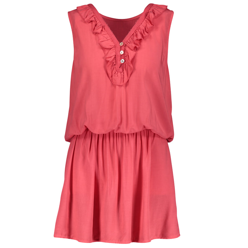 Rosana Ruffle Dress - Coral