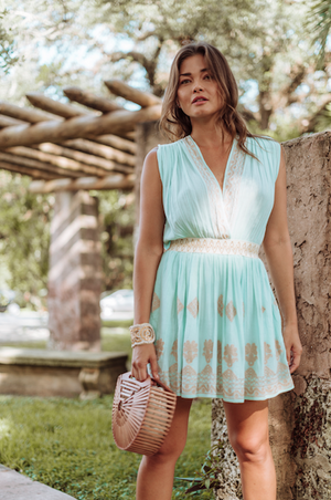 INGE DRESS MINT & GOLD
