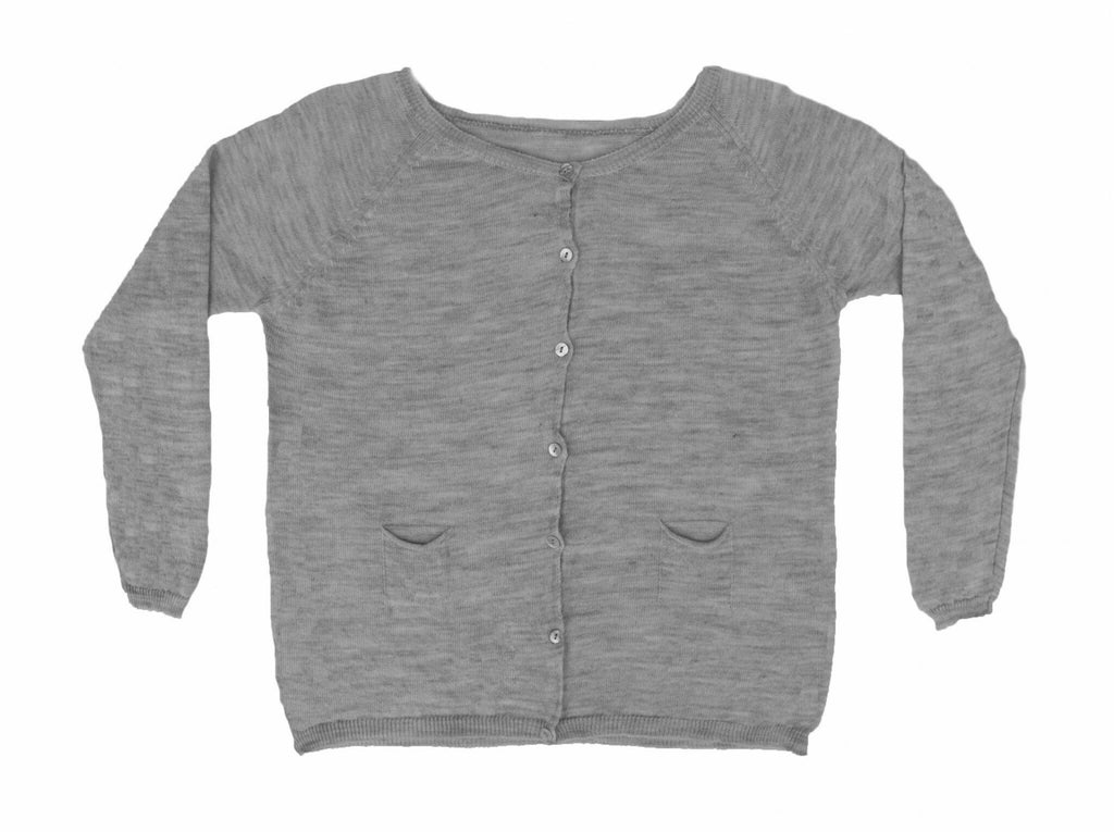 MIA COTTON KNIT CARDIGAN - LIGHT GREY