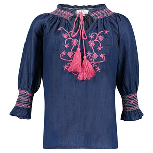 VIVI EMBROIDERED TUNIC | BLUE/PINK