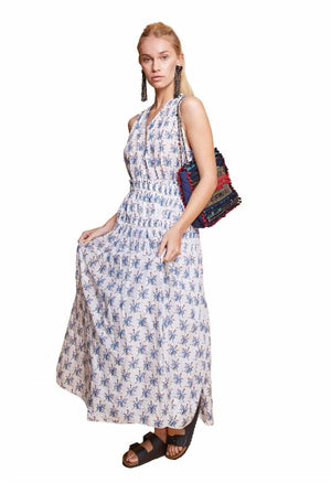 ALESSANDRA MAXI DRESS WHITE & BLUE