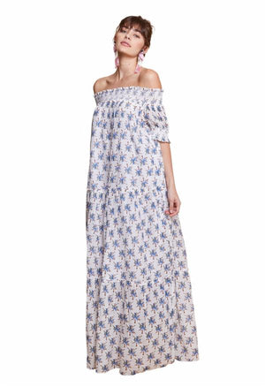 ALEXIS OFF THE SHOULDER MAXI DRESS WHITE & BLUE