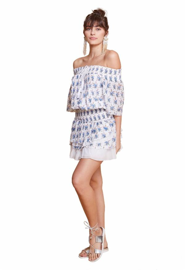 ANAIS MINI DRESS WHITE & BLUE