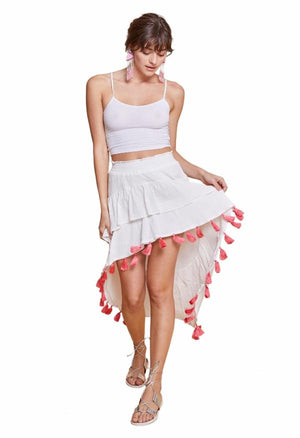 ANGELIE HIGH-LOW SKIRT WHITE & CORAL