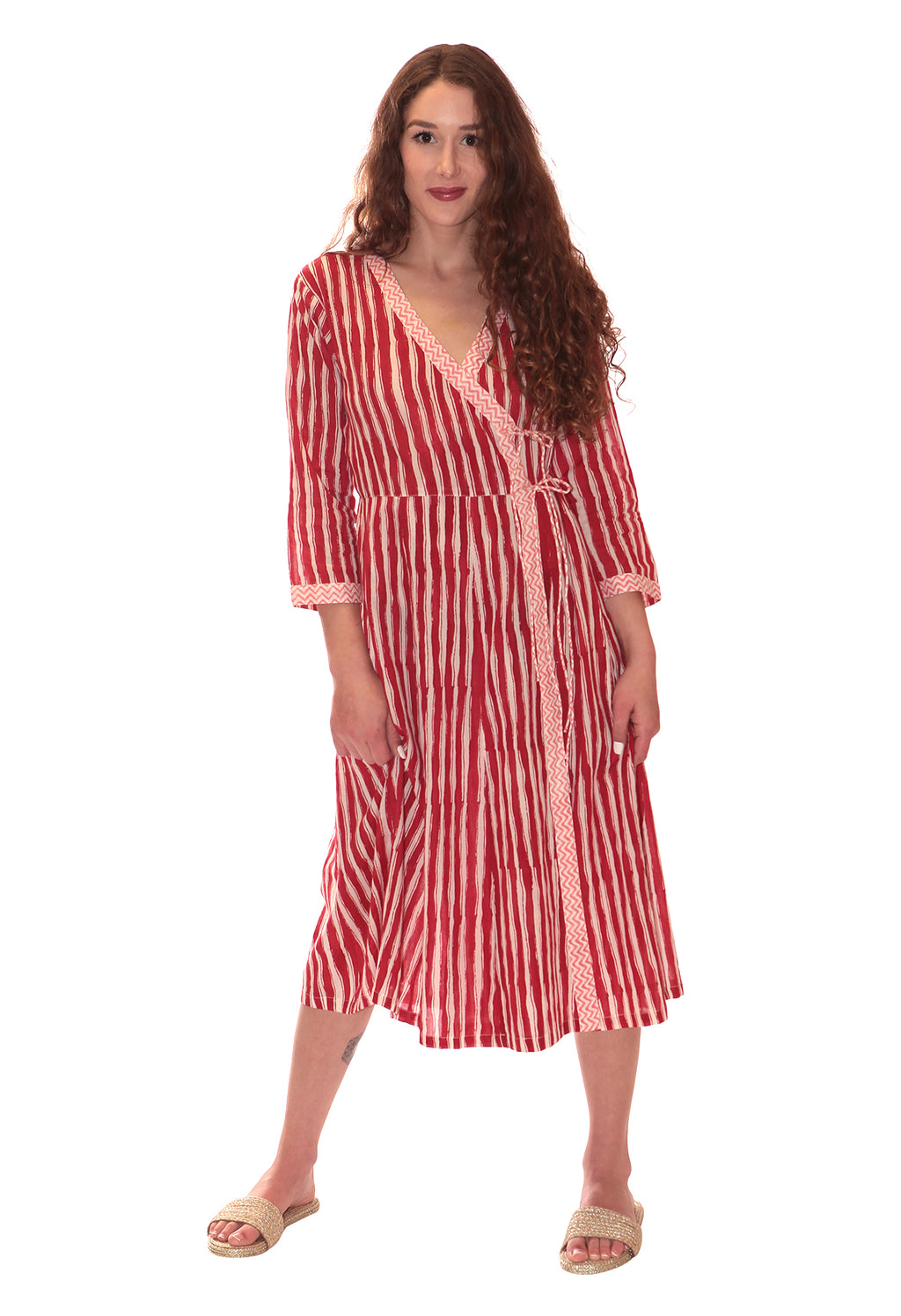 CANDY CANE WRAP DRESS RED