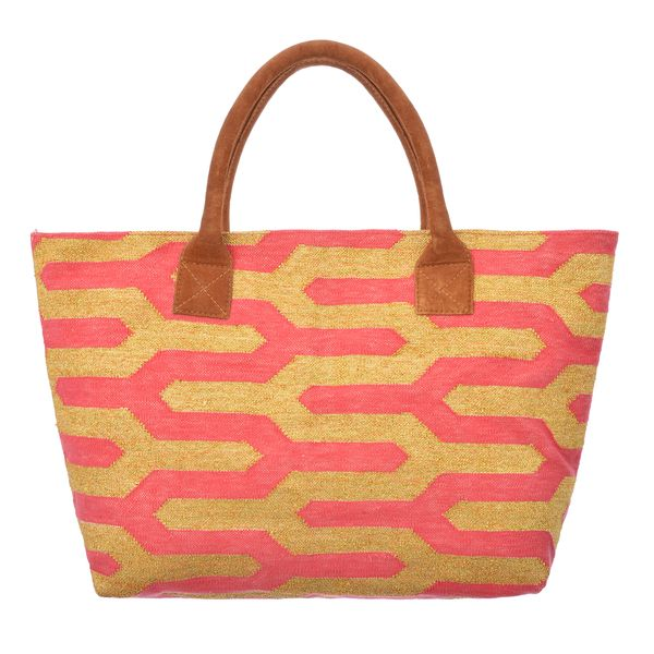 Dhurrie Bag - Gold / Pink