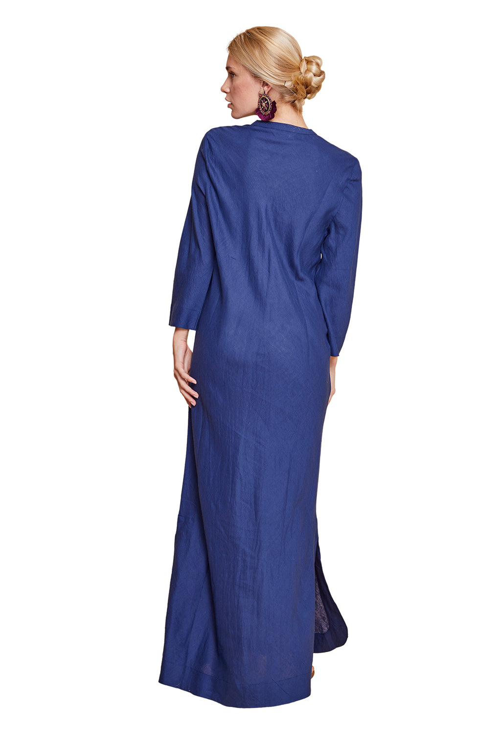 Flavia Long Shirt Dress - Blue