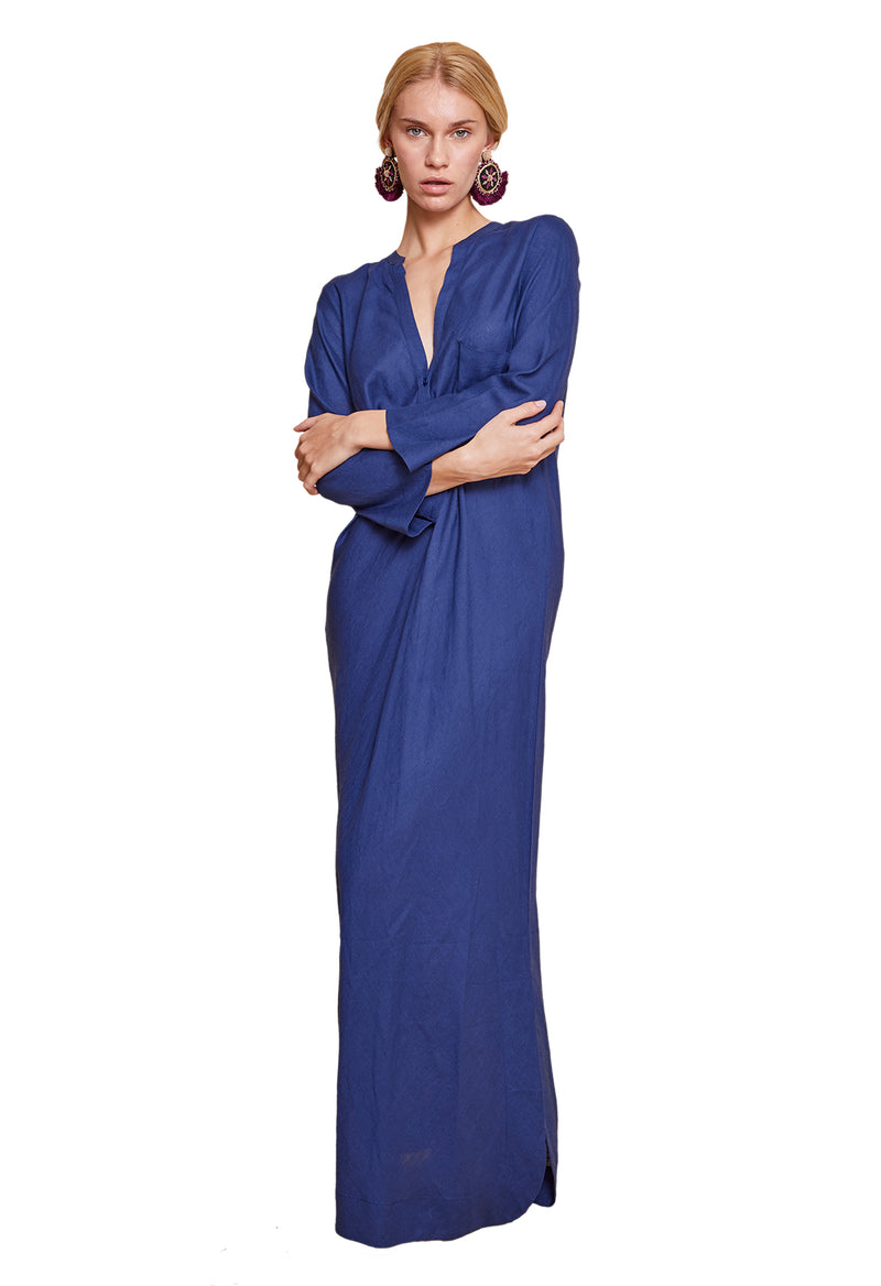 FLAVIA LONG SHIRT DRESS BLUE