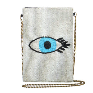 Evil Eye Mini Crossbody - White