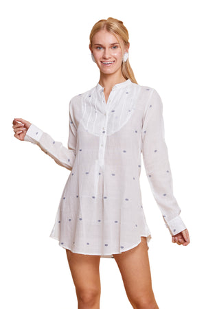 INDIA JAMDANI SHIRT DRESS WHITE